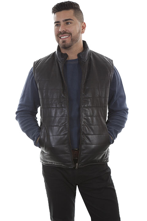 Reversible ribbed black lamb leather vest