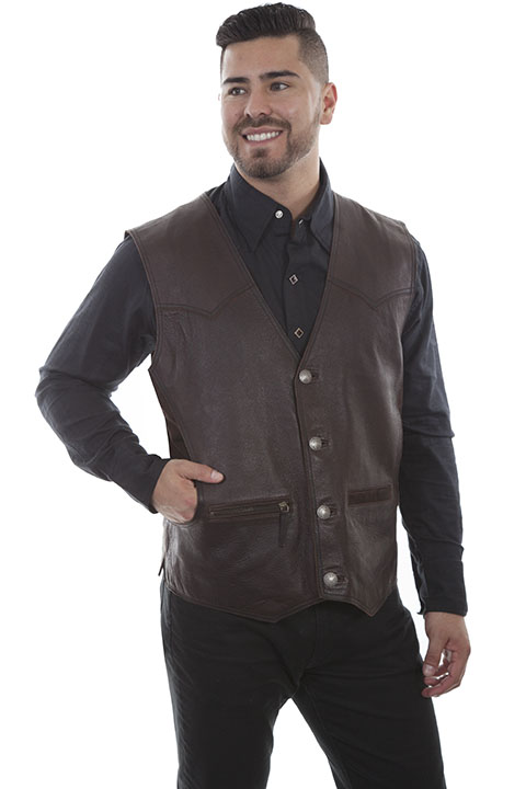 Rugged Lambskin button front vest