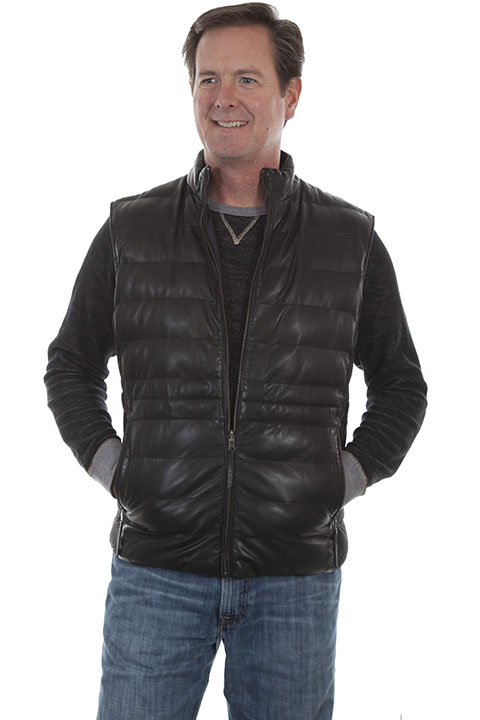 Reversible ribbed leather vest