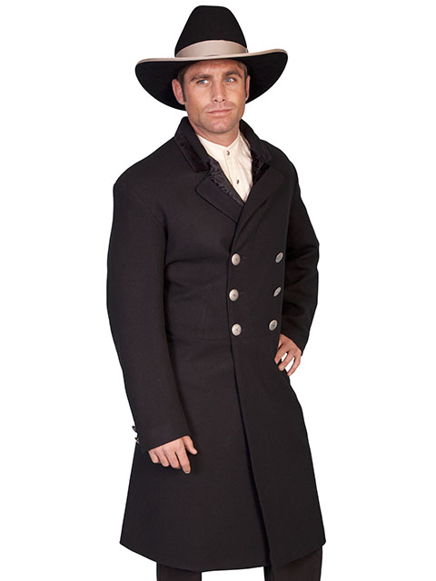 Double breasted wool frock coat with concho buttons