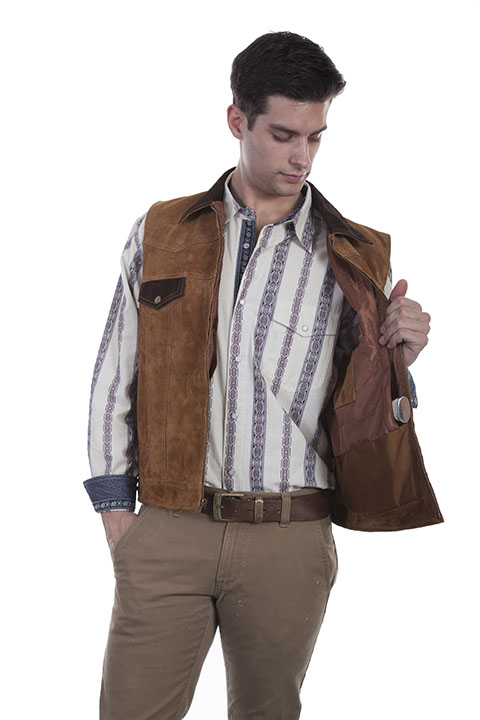 Boar suede vest with conceal carry pocket
