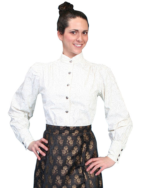 Classic blouse with a stand up collar