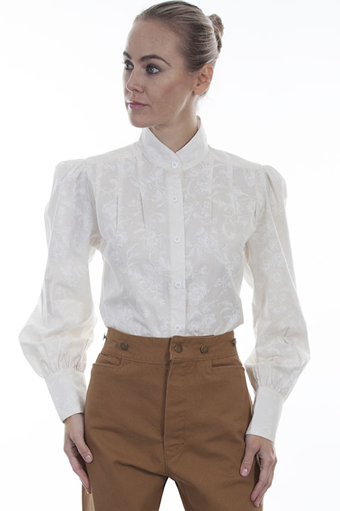 Band collar full button front blouse
