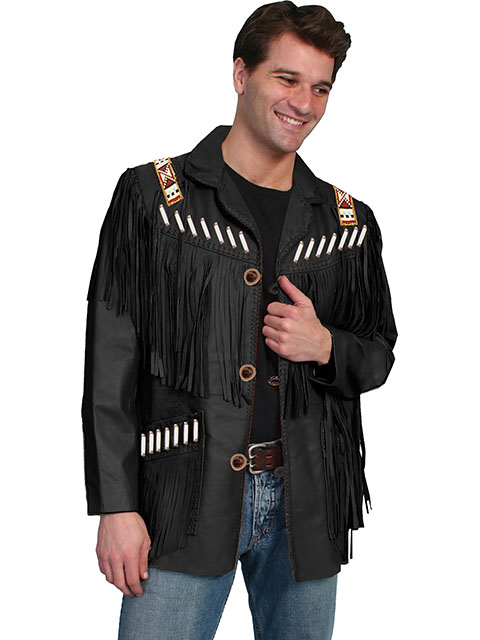 Fringe leather jacket with bone and bead