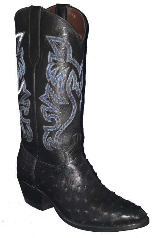 Black Full Quill Ostrich Western Fancy Stitch Cowboy Boots