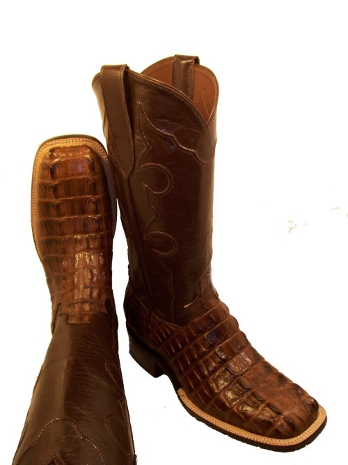 Tobacco Hornback Alligator Western Cowboy Boots with Square Toe