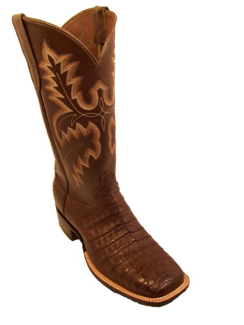 Hornback Alligator Cowboy Boots with Western Fancy Stitch Shaft