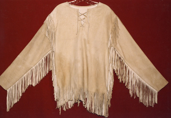 Deerskin Leather Mountain Man Pullover Shirt With Fringe