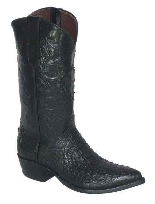 Black Hornback Crocodile Cowboy Boots with Black Western Fancy Stitch Top