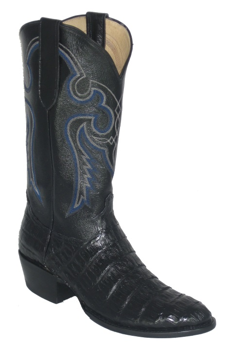 Black Crocodile Cowboy Boots with Western Fancy Stitch Top