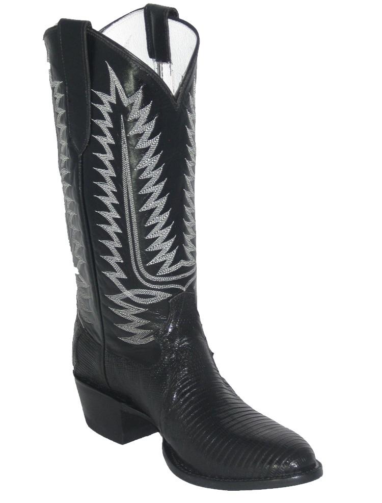 Black Lizard Western Fancy Stitch Cowboy Boots Ct844