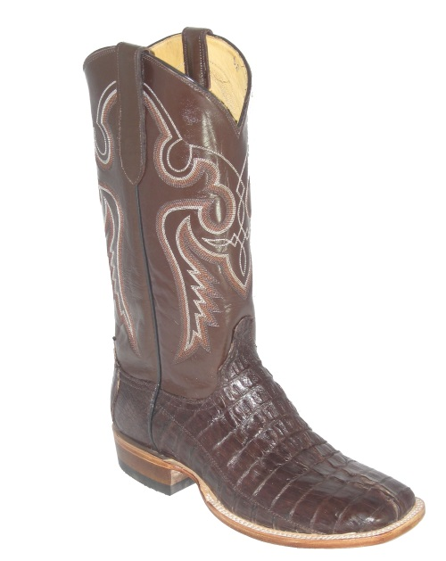 Brown Crocodile Cowboy Boots with Western Fancy Stitch and Square Toe