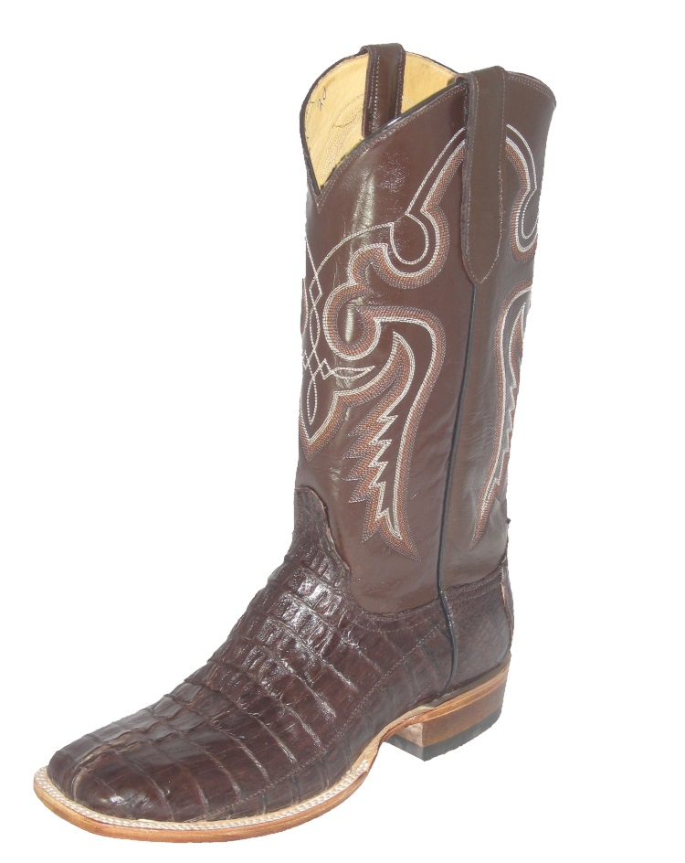 Brown Crocodile Cowboy Boots Fancy Stitch Upper Square Toe