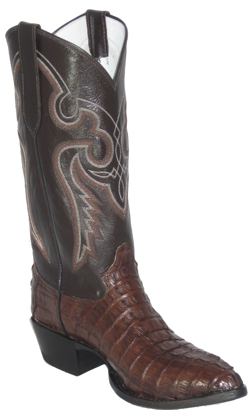 Brown Crocodile Cowboy Boots with Western Fancy Stitch Top