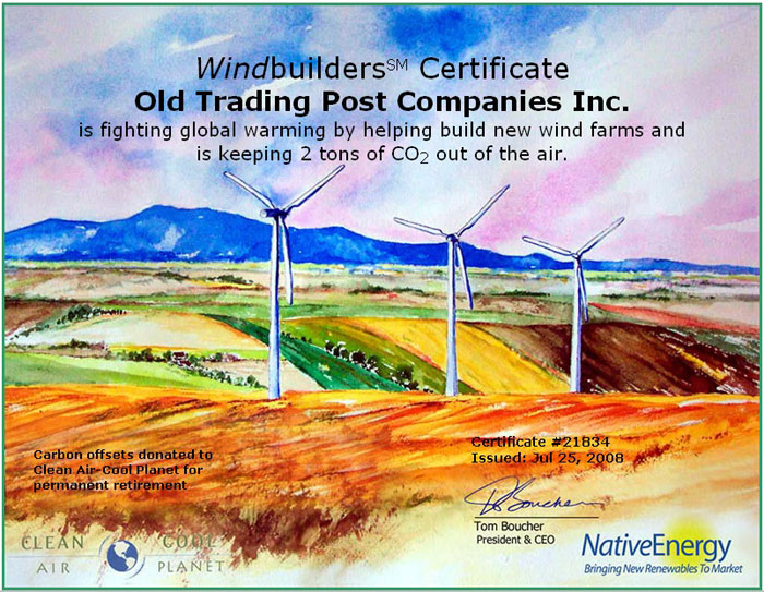 Going Green Certificate issued to Old Trading Post Companies Inc