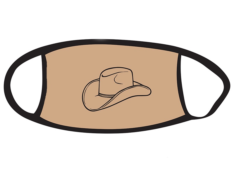 Face Mask with Western Hat Design