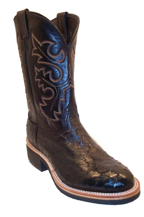 Black Full Quill Ostrich Cowboy Boots Fancy Stitch Round Toe Ropers