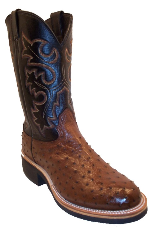 Tobacco Full Quill Ostrich Cowboy Boots Fancy Stitch Round Toe Ropers