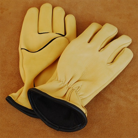 Deerskin Gloves with Fleece Lining & Black Piping