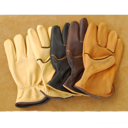 Deerskin Glove with Elastic Back and Contrasting Piping