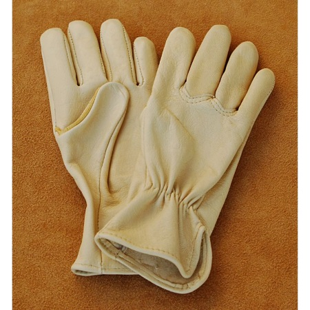 Goatskin Work Gloves with Seamless Palm and Elastic Back