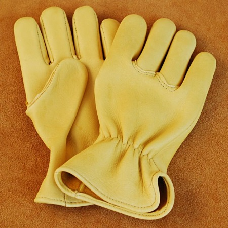 Elk Hide Work Gloves with Seamless Palm and Elastic Back