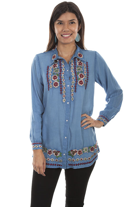 Button front embroidered blouse