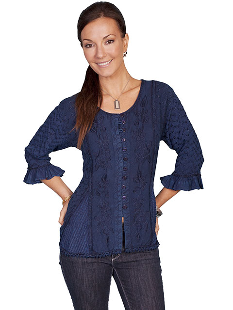 100% rayon multi-fabric 3/4 sleeve blouse