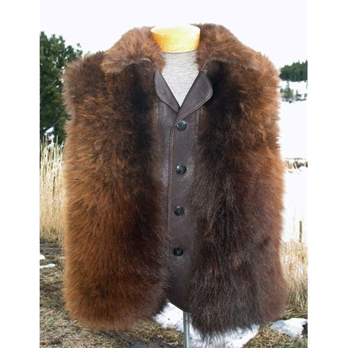 American Bison Buffalo Hair On Button Down Vest
