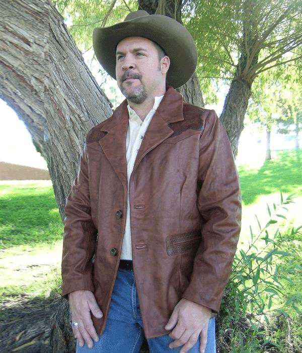 Hand Tooled Western Cowboy Leather Coat