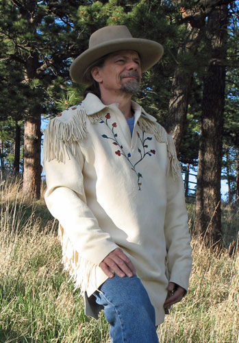 Handmade Painted Deer Hide Metis Design Buckskin Shirt