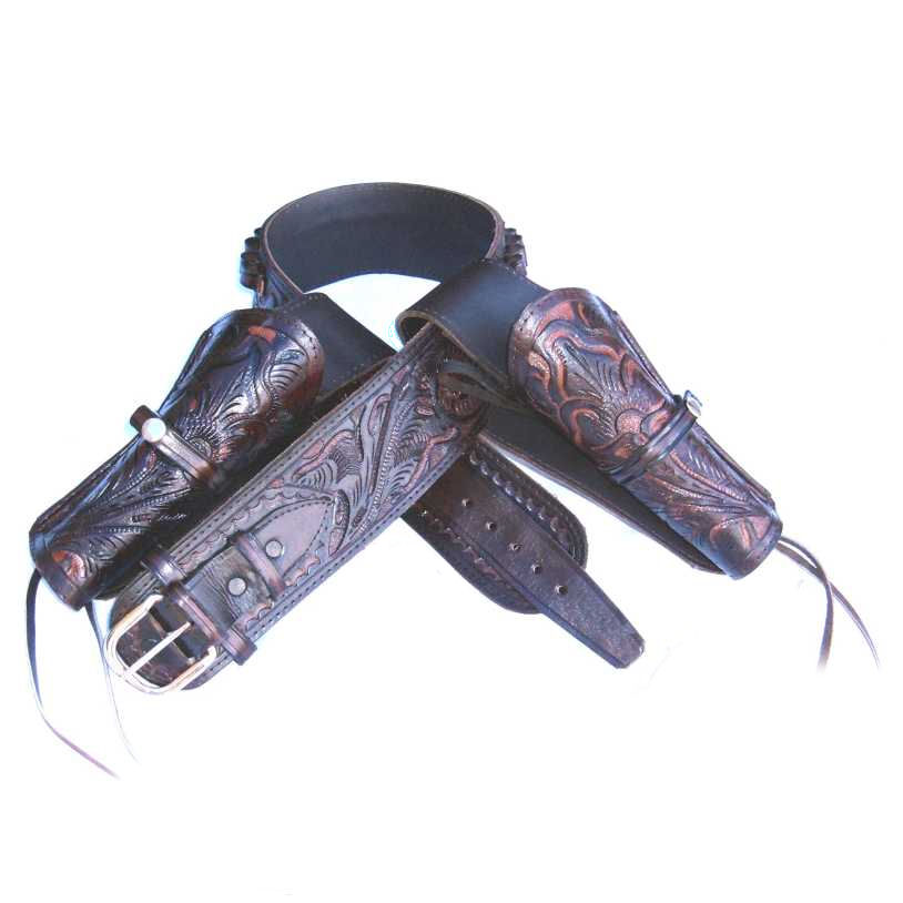 Western High Rider Cartridge Gun Belt with Double Holsters