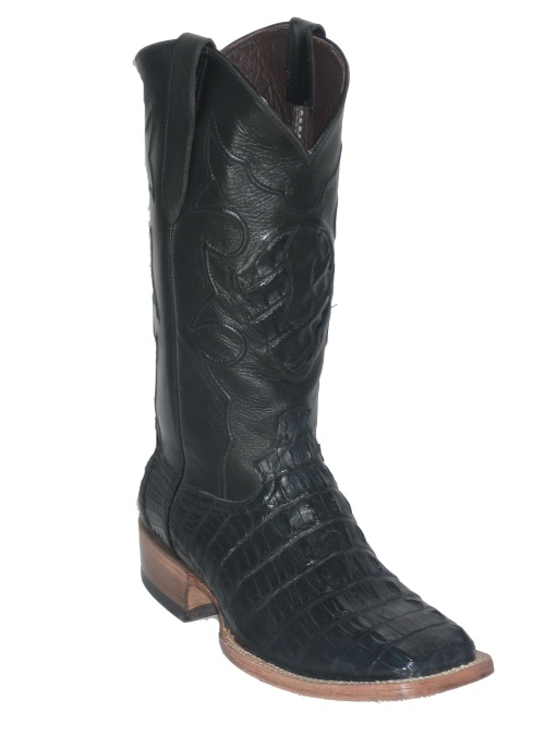 Black Hornback Alligator Cowboy Boots with Square Toe