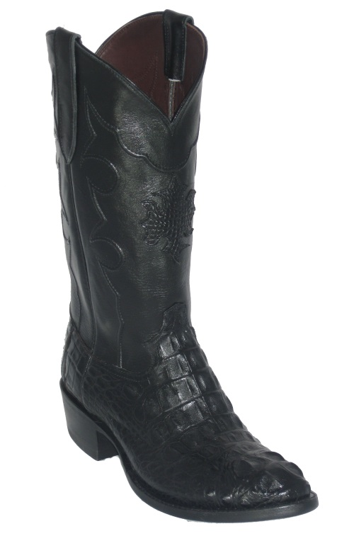 Black Hornback Alligator Cowboy Boots with Inlay Top Shaft