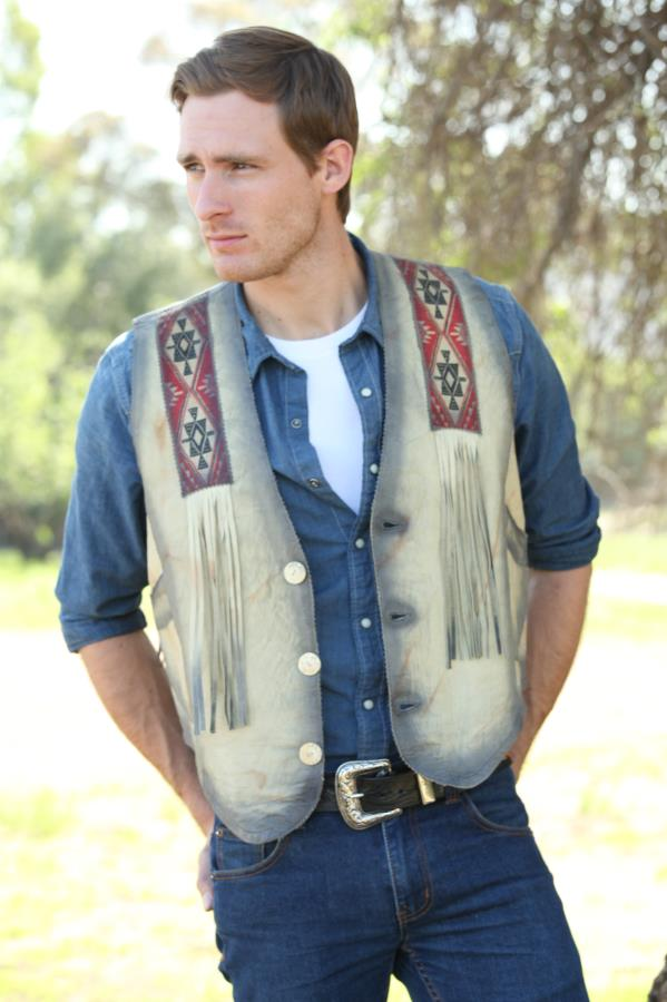 Western Indian Artwork Leather Vest