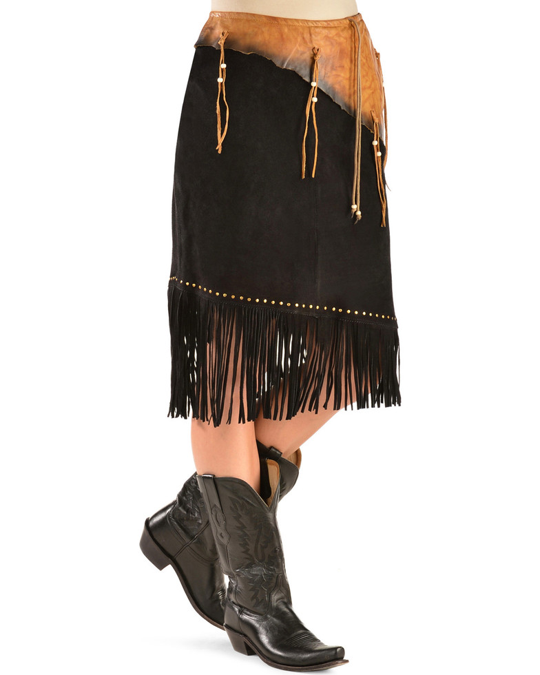 Sioux Suede Skirt with Contrast Leather Belt