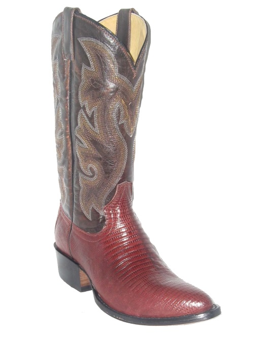 Red Brown Lizard Western Fancy Stitch Cowboy Boots