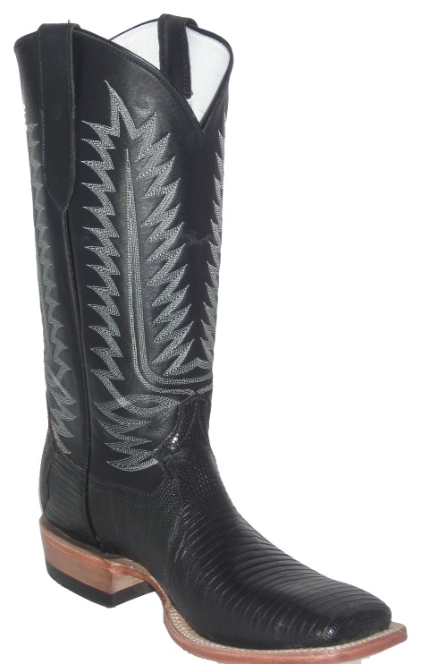 Black Lizard Western Fancy Stitch Cowboy Boots with Square Toe