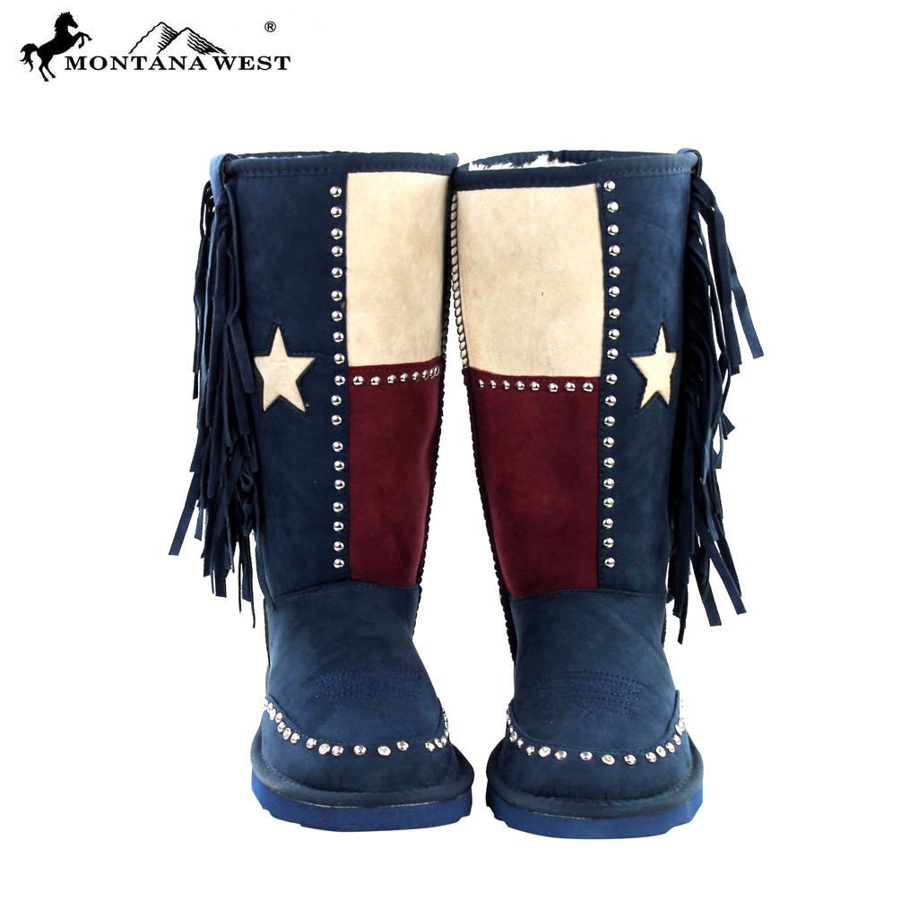 Montana West Texas Pride Boots with Fringe