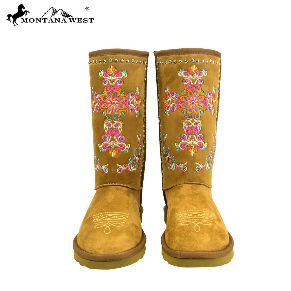 Montana West Embroidered Cross Boots