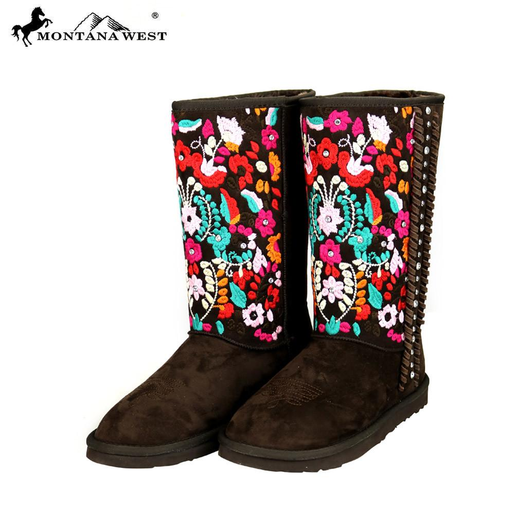 Montana West Embroidered Floral Boots