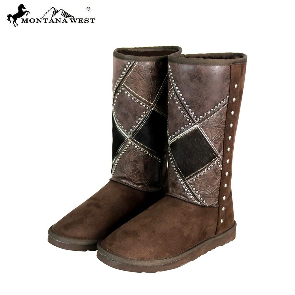 Montana West Tooled Hair-On Boots
