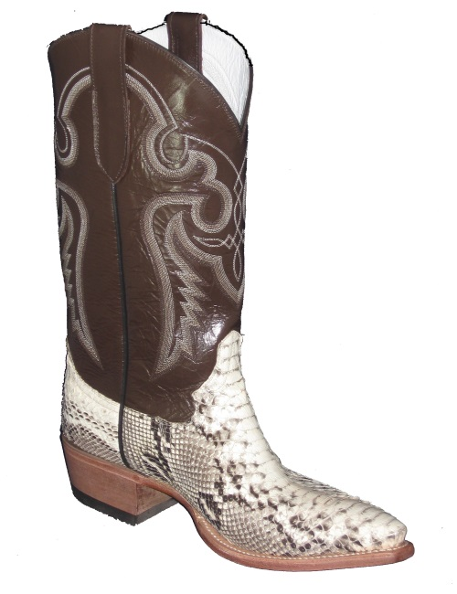 Natural Python Cowboy Boots with Western Pointed Snip Toe