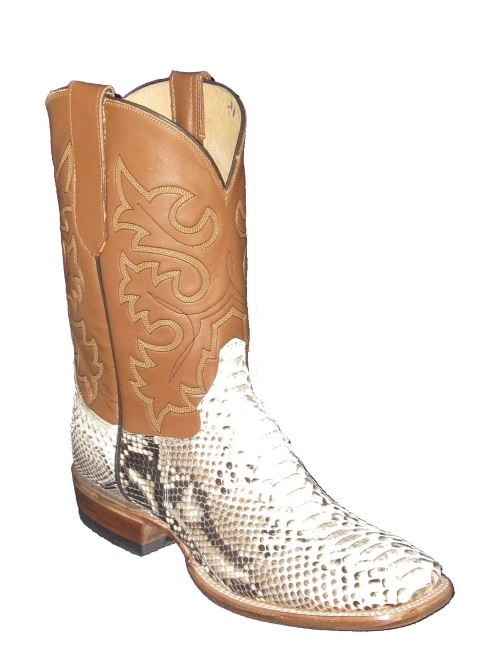 Natural Python Western Rancher Cowboy Boots with Square Toe