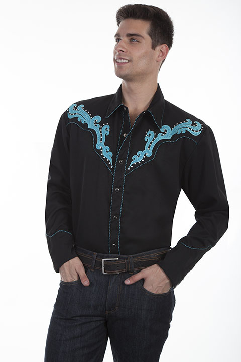 Embroidered scroll shirt with metal studs