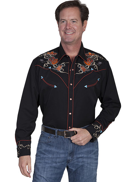 Boots hats & guitars embroidered shirt