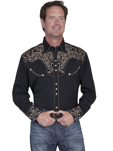 Embroidered scroll shirt