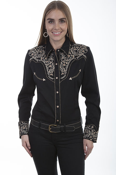 Embroidered poly/rayon blend blouse