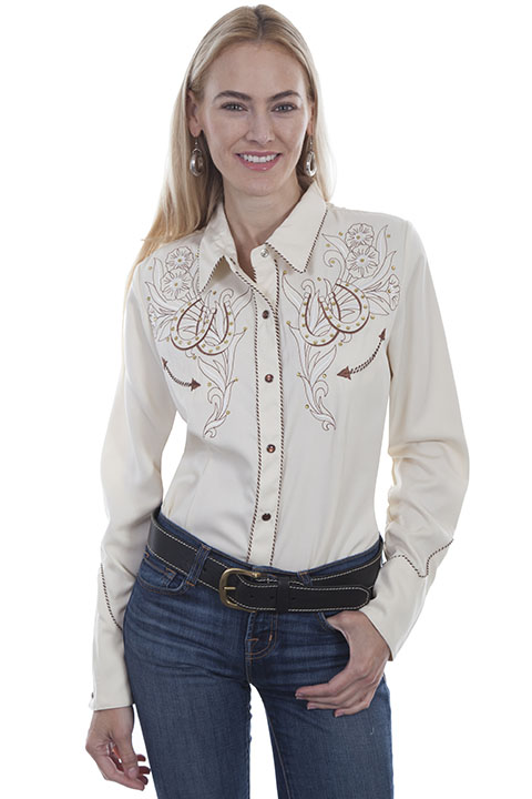 Horseshoes & Roses embroidered shirt