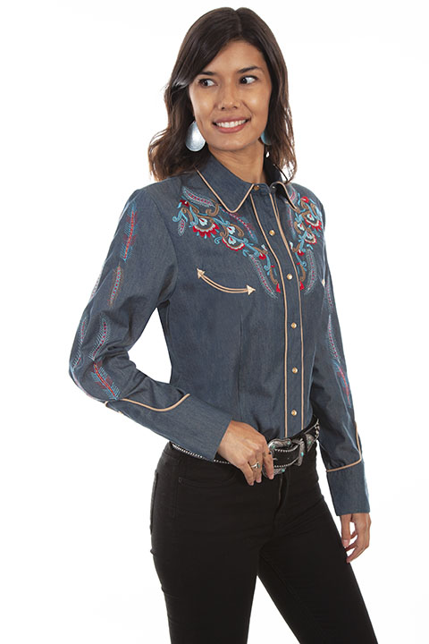 Floral embroidered western shirt